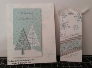 October Sunday snowflake and tree card tag