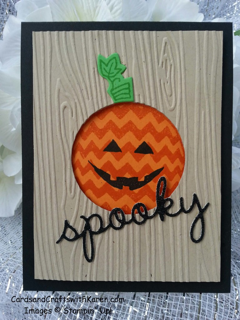 Spooky card with wood grain
